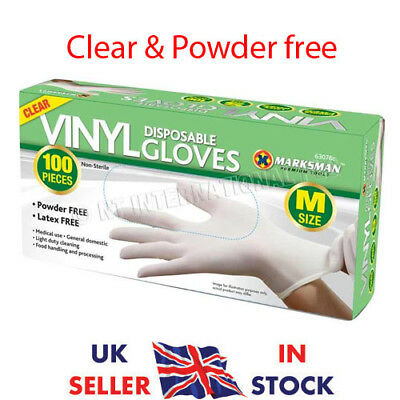 Box Of 100 Clear Vinyl Gloves Bodyguards Disposable Powder Free Size Medium Uk