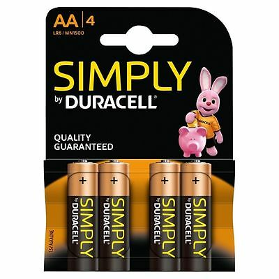 2 X Duracell Simply AA 4 Pack Alkaline 1.5v LR06 MN1500 - Quality Guaranteed