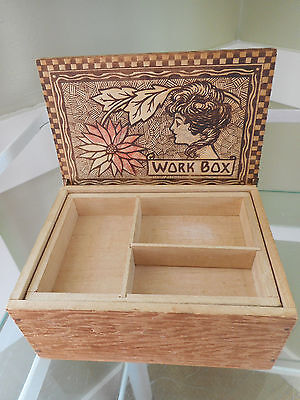 Folk Art Wood Detailed Burned Box Pyrography