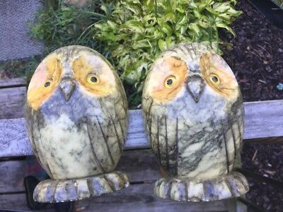Vintage Pair of Albaster Owl Bookends Hand carved Made in Italy Marked