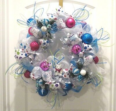 Deco Mesh Christmas Wreath - Whimsical Polar Bear - Pink Blue Ribbon Handmade