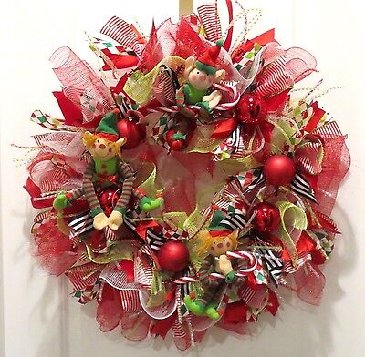 Deco Mesh Christmas Wreath - Whimsical Elves - Red Green Black Ribbon Handmade