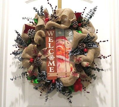 Burlap Christmas Wreath - Rustic Burlap Pine Cone Welcome Peeking Santa Claus