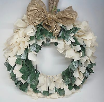 Handmade Urban Country Christmas Wreath - Hand Tied Fabric Rag Holiday - Rustic
