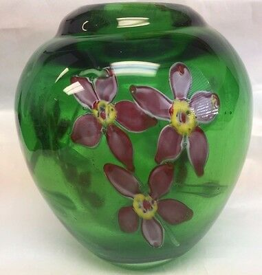 Green Thick Green Art Glass Vase Pink Flowers Wow !