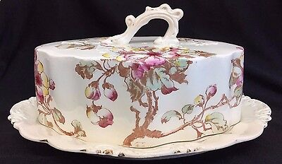 Large Old Porcelain Pink Flower Covered Dish Cheese Butter  Wow!