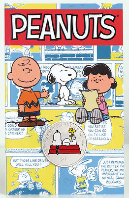 65TH PEANUTS ANNIVERSARY $1 CUNi  Coin 2015 British Virgin Islands SNOOPY Color