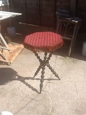 Bobbin Legged Antique Gypsy Table ..tapestry top.