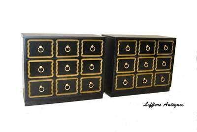 Pair Of Dorothy Draper 3 Drawer Espana Ebonized Chests