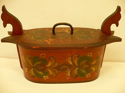 Antique Scandinavian Painted Floral Tine Bentwood Box