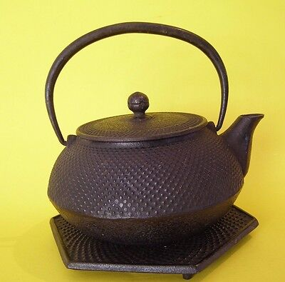 ASIAN Chinese Japanese Stamped IRON TEAPOT KETTLE / TRIVET / INFUSER