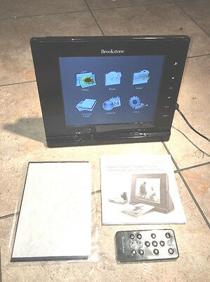 """Brookstone Instant Scan Picture Frame 8"""" Music & Videos USB SD Card Clock"""