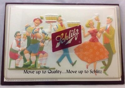 Vintage 1957 Schlitz Beer Shadowbox Sign Move Up To Quality..Move Up To Schlitz