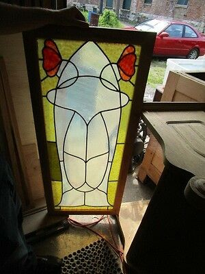 Vintage Art Nouveau Stained Glass Window