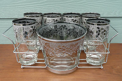 Mid Century Cocktail Barware Set 6 Glasses Ice Bucket +Caddy Silver Grape & Leaf
