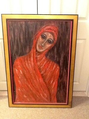 """1964  Portrait Oil on Canvas """"Woman in Red Shawl"""" LARGE 28 1/2 x 40"""