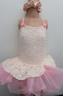 Dance Costume Small Child Pink Ivory Lace Ballet Tutu Solo Competition Pageant