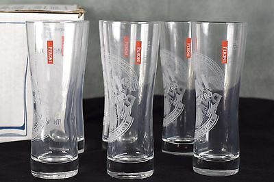 Set Of 6 Sahm Toronto PERONI Etched .2 ltr Beer Glasses Unused Condition in Box