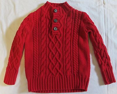 GAP KIDS red CABLE KNIT sweater button neck pullover XS 4-5 cotton wool EUC