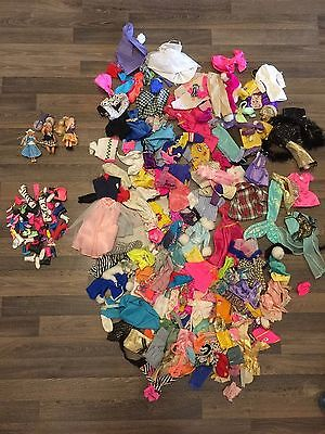 LARGE BARBIE DOLL and other dolls CLOTHES LOT and accessories