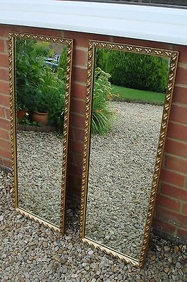 Pair of Vintage Embossed Gold/Brass Finish Rectangular Wall Mirrors