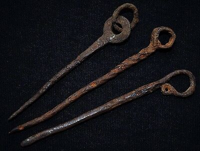 Group of 3 Ancient Viking Twisted Iron Pin Brooches, c 950-1100 AD. Norse Relics