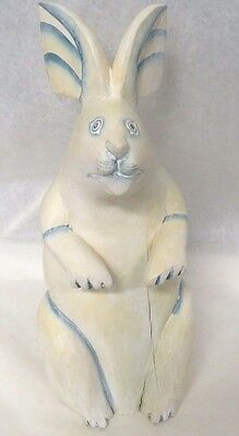 Vintage Carved Wooden Bunny Rabbit Sculpture