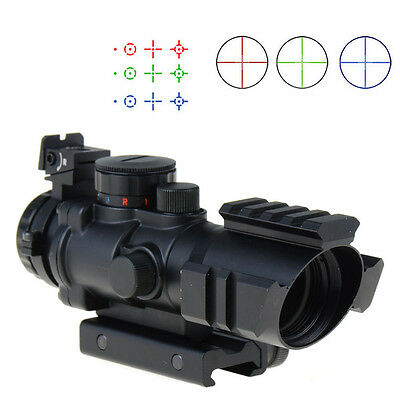 Hunting 4X32 Red/Green/Blue Rifle Scope w Picatinny Tri-illuminated Recticle New