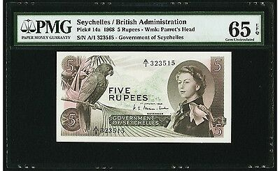 5 Rupees 1968 Seychelles / British Administration PMG 65 EPQ Gem Uncirculated