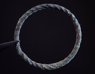 Ancient Viking Twisted Bronze Ring depicting Norse Eternity Loop, c 950-1000 AD.
