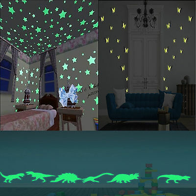 100 Glow In Dark Stars Moon Butterflies Dinosaurs Pack For Walls & Ceilings