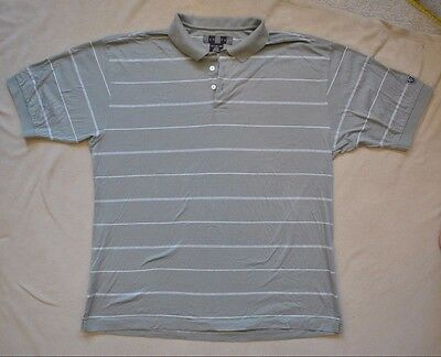 Nike Golf Men's Polo Shirt Extra Large XL Beige Striped 100% Cotton