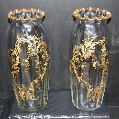 Antique Pair Of Legras St-Denis Gilt Enamel Rococo Revival Glass Vases 1860-1890