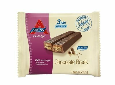 Atkins Endulge Chocolate Break Low Carb, Low Sugar, Wafer Snack Bar, 3 x 21.5g