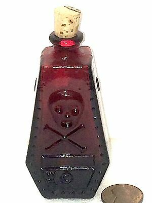 Old Red Clear Glass Wheaton Reproduction Mini Bottle Coffin-Shaped Poison R.I.P.