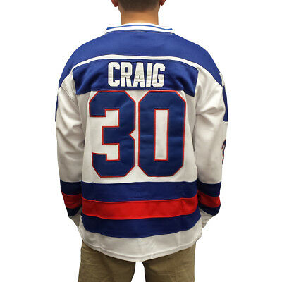 Jim Craig #30 Team USA White Hockey Jersey Miracle On Ice Goalie Goaltender