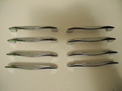 8 Vintage Unused 1950's Chrome Drawer Pulls Cabinet Door Handles Mid Century NOS