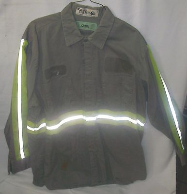 Shirt Reflective Stripe Gray With Lime Stripes Cotton Size XL Long Sleeve $5