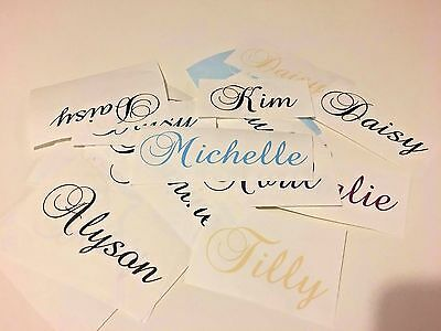 2 X Personalised Word / Name Decal Vinyls Colour Choices Glitter Glasses Wedding