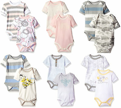 Burt's Bees Baby Girls' 2-Pack Organic Floral and Stripe Bodysuit Set, 11 Colors