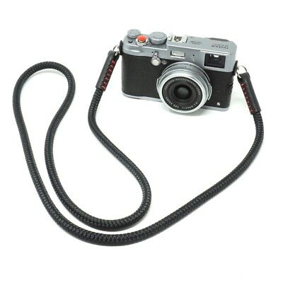 Silky Cord / Rope & Leather Camera Neck Strap 48in/122cm, Handmade by Cordweaver