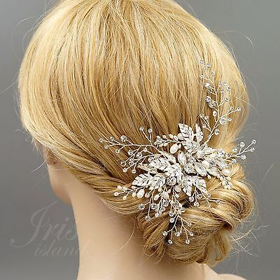 Bridal Hair Clip Freshwater Pearl Crystal Headpiece Wedding Accessories 06466 S