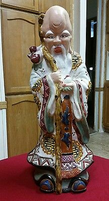 19th Century Chinese Antique Porcelain Wise Men Statue