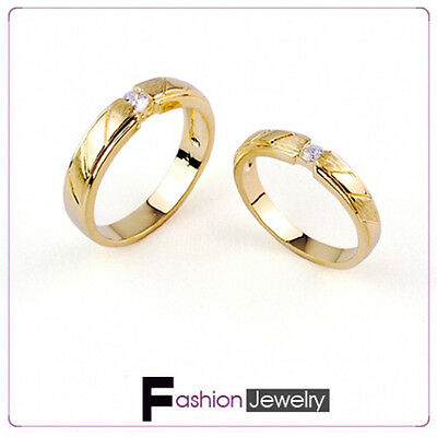 Clear CZ Engagement Wedding Band 18K Yellow Gold Plated Ring Set Size 8 9