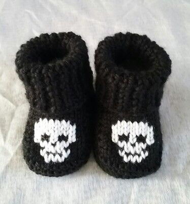 cute hand knitted baby booties skulls goth punk new 0-3months