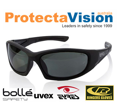 Eyres BERCY POLARISED Safety Glasses/Sunglasses - Black Frame - Med. Impact.