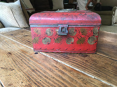 Early 19th C. Vibrant Red Tole Decorated Document Box