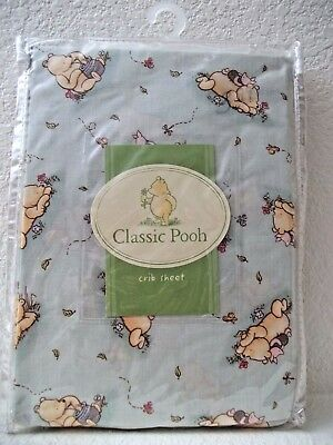 """CLASSIC WINNIE THE POOH """"Best Friends"""" Crib/Toddler Fitted CRIB SHEET Green NEW"""