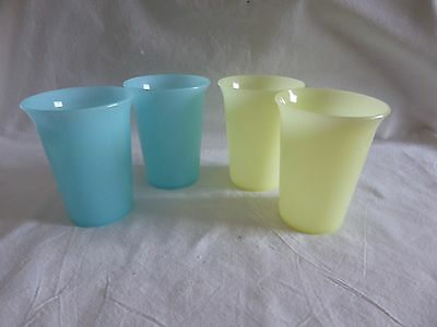 Vintage Tupperware Set Of 4 Bell  Tumblers In Pastel Colours In Vgc