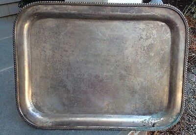 "Vintage Morton-Parker Marlboro Plate Large Rectangle Silver Plate Tray~20""~ 1945"